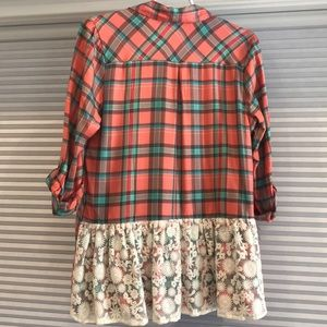 Matilda Jane flannel top with lace detail S